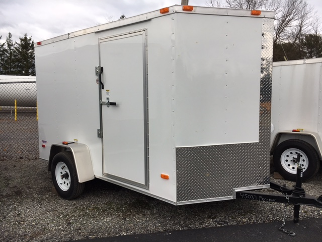 White 6 x 10 Freedom Enclosed Cargo Trailer